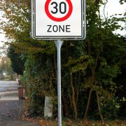 Road sign speed limit thirty zone